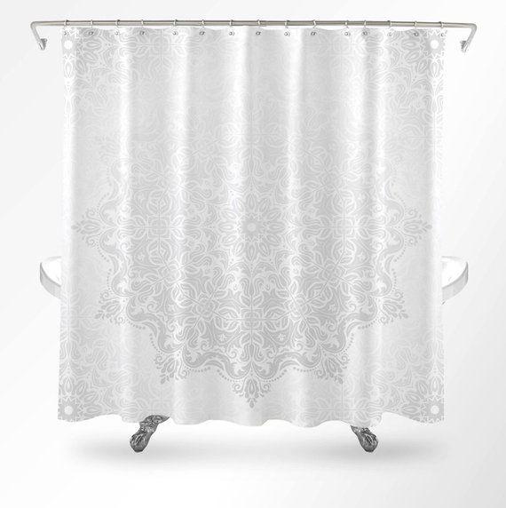 Mandala Duschvorhang Dusche Vorhang Boho Weiss Dusche Vorhang