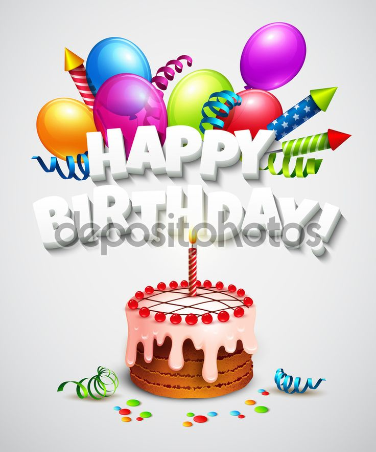 Cartão de feliz aniversário com bolo e balões. Ilustração vetorial — Ilustração de Stock #68083161