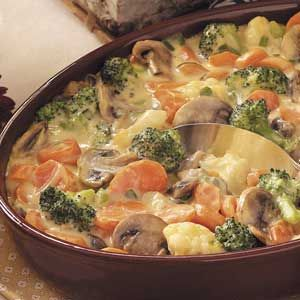 "Baked Vegetable Medley Recipe - ""If you get all the chopping done the night before, it's smooth sailing when company arrives the next day. 'Just prepare this casserole in advance, and bake at serving time.' """