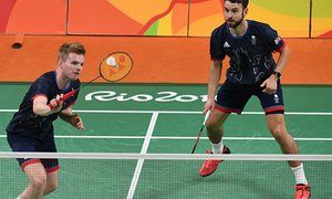 Marcus Ellis, left, and Chris Langridge of Great Britain on their way to Olympic bronze in the doubles against China's Chai Biao and Hong Wei.