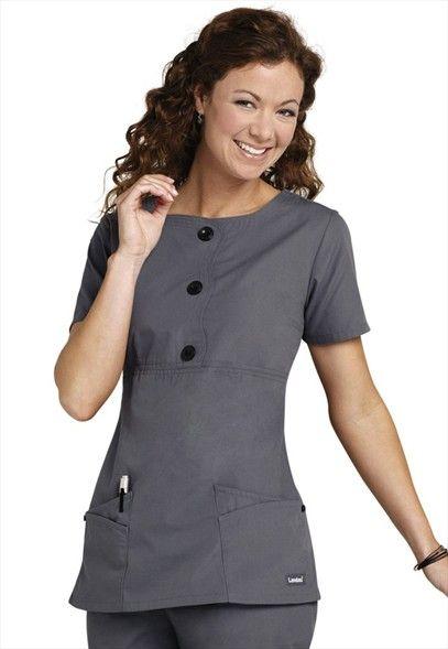 Landau button trim empire waist scrub top.