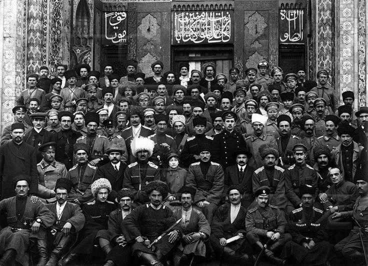 Meeting of the Congress of the Republic of Mountain Peoples of the North Caucasus under the leadership of the Kabardian Pshemacho and the Chechen Cavalry Regim  ent leader Abdul-Majid Tapa and the Daghestani leader Artsuevich Chermoev, meeting in Vladikavkaz in 1917 on its first congress for the organization of a permanent union that would unit Highlanders of the North Caucasus.