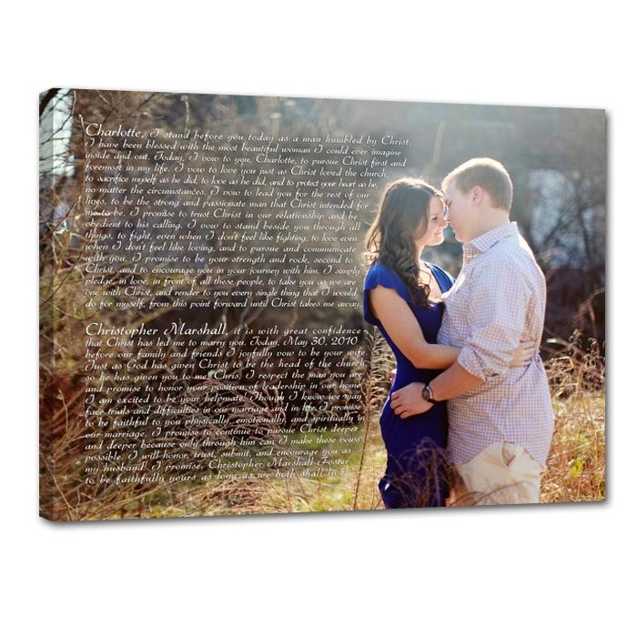 wedding vows with photo on canvas #Geezees #canvas #wall #art
