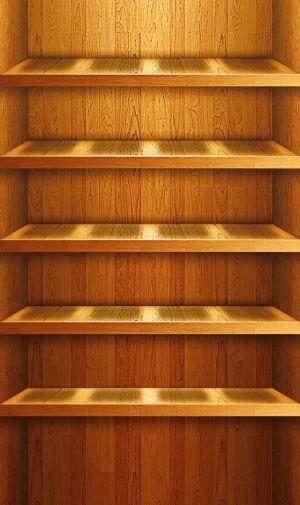 照らされた木の棚のiPhone壁紙   壁紙キングダム スマホ版