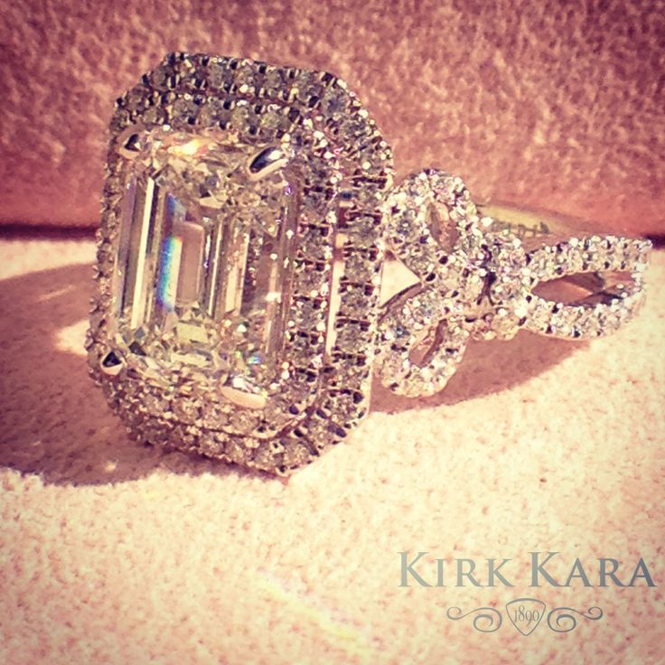 Kirk Kara engagement ring from the Pirouetta collection   Emerald cut halo engagement ring  detailed engagement ring   artful engagement ring  romantic, vintage and  lace engagement ring  beautiful engagement ring  kirkkara.com  Design K172E85X65L