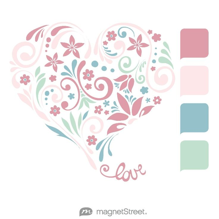 Blush, Cream Rose, Rain, and Celadon Wedding Color Palette - free custom artwork created at MagnetStreet.com