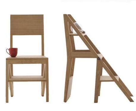 A magical wooden chair that turns into a step stool.