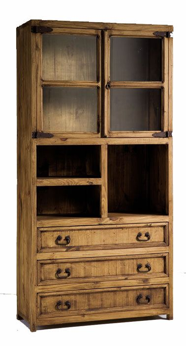 #Vitrinas #rústicas grandes estilo #mejicano de 3 cajones, 2 puertas y 3 huecos color pino anogalado ref: 45027. Más información en: http://rusticocolonial.es/mueble-rustico-y-mueble-mejicano-de-gran-calidad-al-mejor-precio/muebles-de-salon-rusticos-y-mejicanos-de-gran-calidad-al-mejor-precio/vitrinas-rusticas-y-mejicanas-de-gran-calidad-al-mejor-precio/vitrina-rustica-color-pino-anogalado-grande-ref-45027-detail