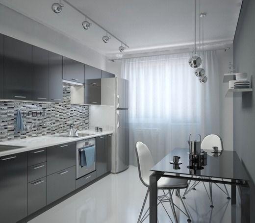 Дизайн проект квартиры в стиле хай тек. Кухня