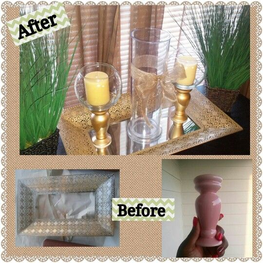 Thrift store items jazzed up and paired with things around for Diy crafts with things around the house