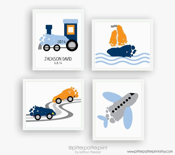 Transportation Nursery Art Print Set, Train, Airplane, Car, Sailboat, Travel Baby Footprints, Personalized Boys Room Decor, Blue Orange