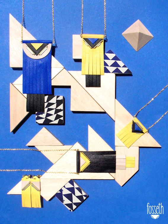 Blue board ▾ Blue & Yellow ▾    #necklace #graphic #geometric #fringes #leather #jewelry