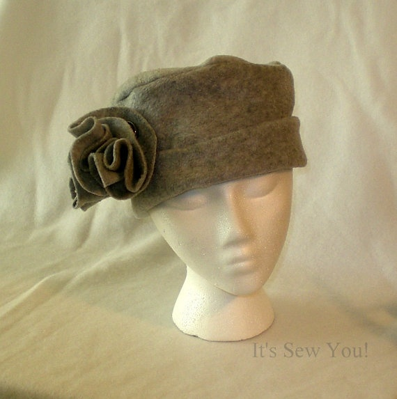 Ladies Fleece Hat in Light Gray with Removeable by ...