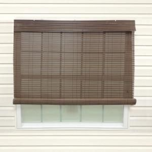 Chestnut Exterior Roll Up Patio Sun Shade With Valance   96 In. W X 84