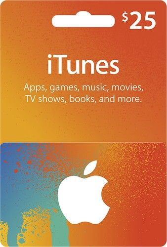 Buy $25 iTunes gift card with cheap price and enjoy TV shows, books and so on.