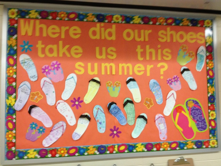"""Writing activity: I did this with my students on the first day of school. The writing prompt said """"My summer shoes took me to..."""" turned out really cute!!"""