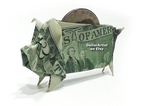 PIGGY BANK Money Origami Dollar Bill Cash Sculptors Bank Note Handmade Dinero