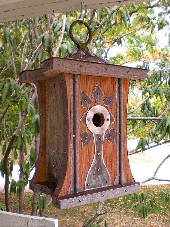 The Regina: Art Deco Birdhouse Made of Reclaimed Barn Wood and Metal Roofing--Made to Order via Etsy