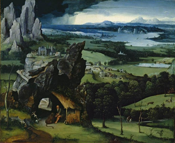 "JOACHIM PATINIR: One of the key events in late-15th C. painting was the emergence in the Netherlands of a new genre that would become very popular: the Landscape. Patinir of Antwerp was the first artist to be described as a ""landscape painter,"" and Dürer himself used this term in connection with his work."