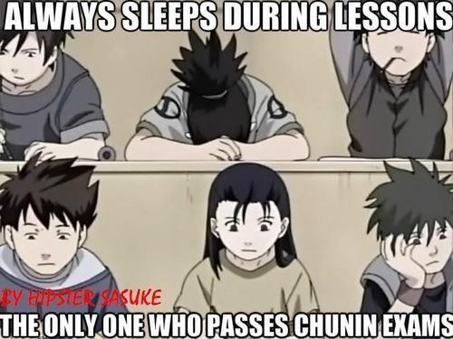 Shikamaru, der einzige der im Unterricht schläft und auf die Chunin Prüfung geht