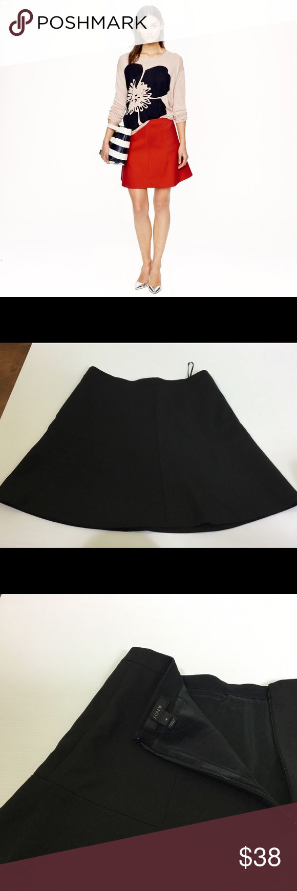 J. Crew classic fluted crepe skirt in black. Sz. 4 In a flattering fluted shape, this structured but swingy skirt is finished with a subtle lustre that gives it endless wear possibilities (work, parties, brunch, you name it). Size 4. J. Crew Skirts Mini