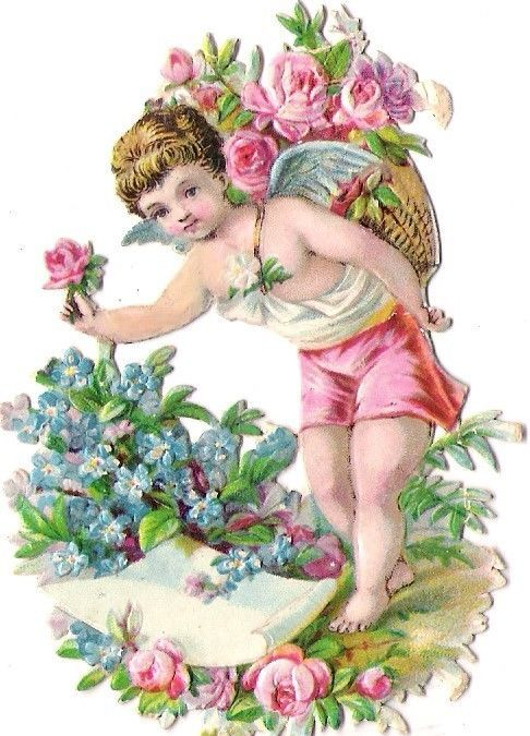 Oblaten Glanzbild scrap die cut chromo Engel angel Amor cupid Elfe elf