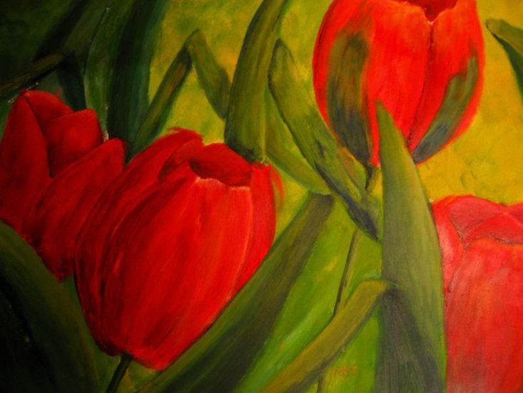 4 rode tulpen