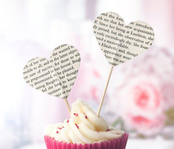 Jane Austen book paper cupcake toppers by PurplePebbleGifts