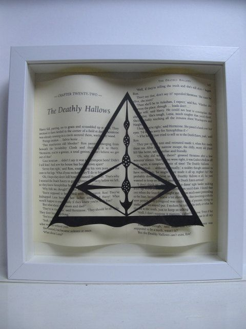 The Deathly Hallows - Harry Potter J.K Rowling fan framed art. Papercutting. Book lovers gift. by PaversPaper on Etsy