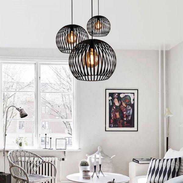 Spherical Hanging Lighting Contemporary Metal 7 12 14 Wide 1 Head Black Wh In 2020 Hanging Lights Living Room Living Room Lighting Contemporary Dining Room Lighting