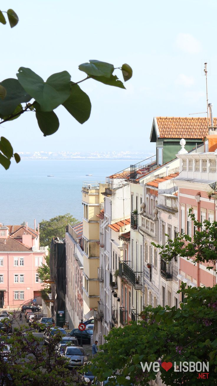 Overlooking the river Tagus in Lapa neighbourhood in Lisbon