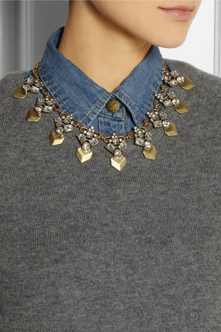 J.Crew | Gold-tone crystal necklace | NET-A-PORTER.COM