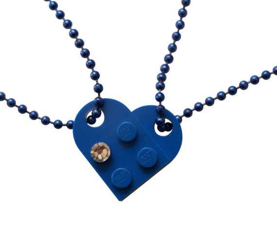 Dark Blue 2 piece customizable heart made from by MademoiselleAlma #MademoiselleAlma #LEGO #ETSY