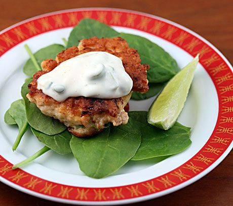 Salmon croquettes with sesame-lime sauce.