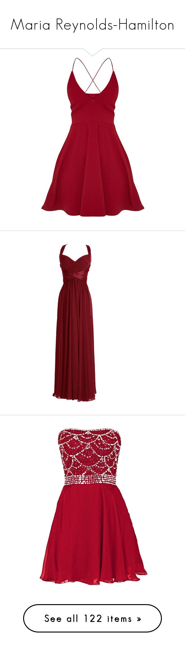 """""""Maria Reynolds-Hamilton"""" by silverbellatrix ❤ liked on Polyvore featuring dresses, red plunge dress, red skater dress, crepe dress, plunge skater dress, red dress, gowns, vestidos, abiti and long formal dresses"""