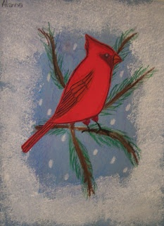 DREAM DRAW CREATE Art Lessons for Children: Cardinals on a snowy day Grade 6