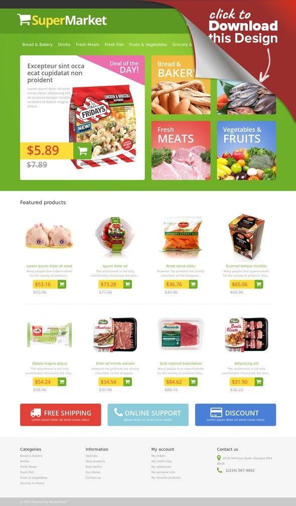 responsive supermarket prestashop theme web site design