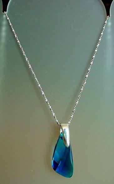 Royal Blue Swarovski's Removable Pendant c/w Delicate by camexinc