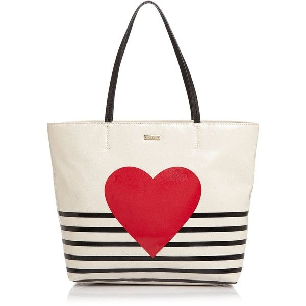 kate spade new york Yours Truly Heart Stripe Hallie Tote (¥22,935) ❤ liked on Polyvore featuring bags, handbags, tote bags, leather totes, kate spade tote, kate spade tote bag, kate spade purses and white leather handbags