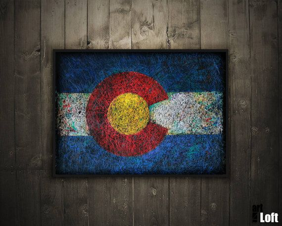 Hand-Painted Flag of Colorado-Distressed by ArtForLoft on Etsy
