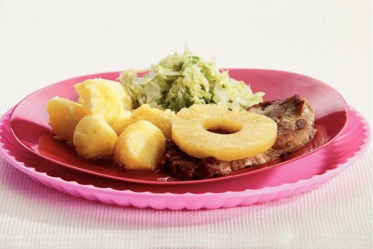 Kijk wat een lekker recept ik heb gevonden op Allerhande! Karbonades met mosterd en ananas