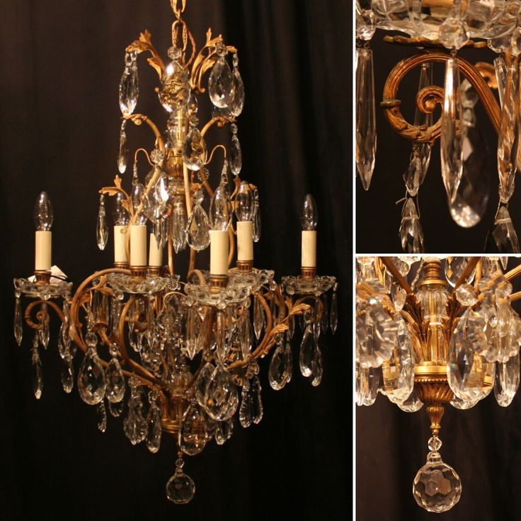 Instant elegance with this beautiful French gilded brass with crystal antique chandelier.