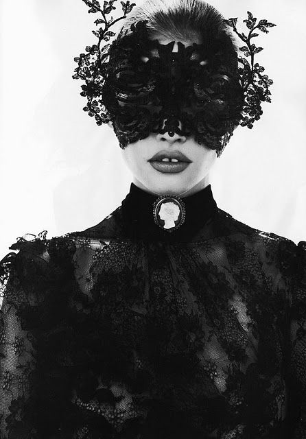 #mask #lace: Lara Stones, Freja Beha Erichsen, Vogue Paris, October 2010, Masquerade, Masks, Fashion Photography, Lace Mask, Black