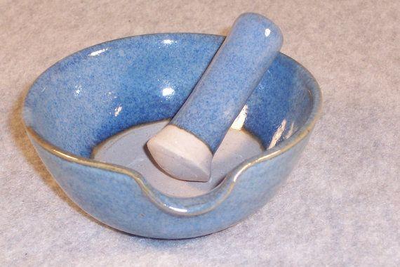 Ceramic Mortar and Pestle set Garlic Grinder Blue Wheel Thrown Stoneware Ceramics Pottery
