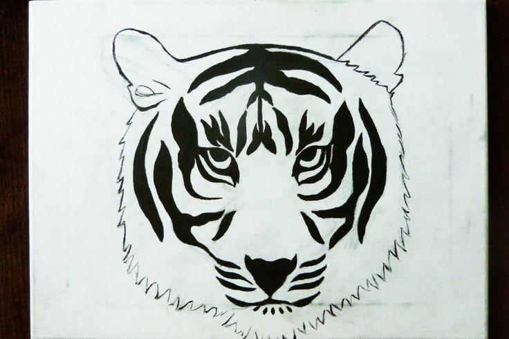 Tigre pintado en acrílico, pintado por Alex
