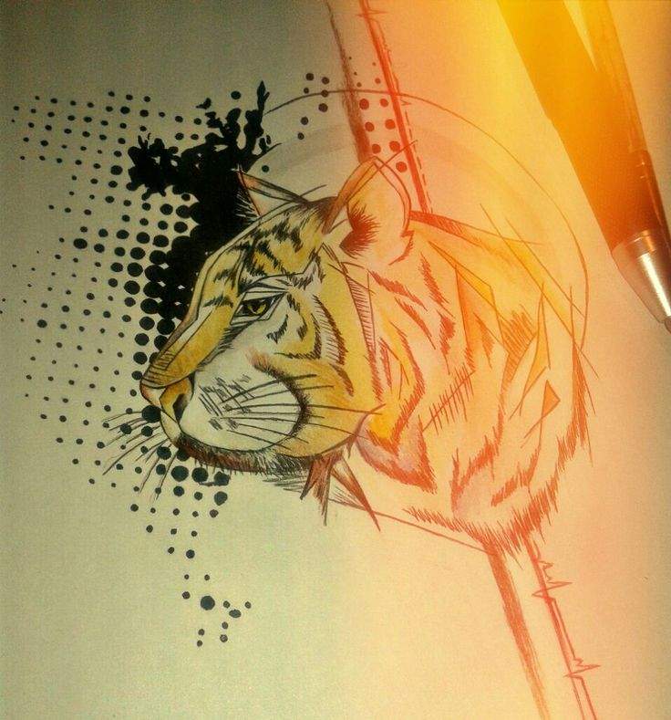 #тату #tattoo #art #эскиз #cat #tiger #treshpolka #sketch