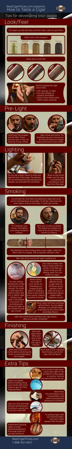 How to taste a cigar by BestCigarPrices.com - Tips for developing your palate. #flavor #cigars #tastingtips