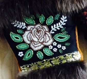 A close up of the pair of mitts that I made about 2 years ago. Carmen Dennis (Tahltan)