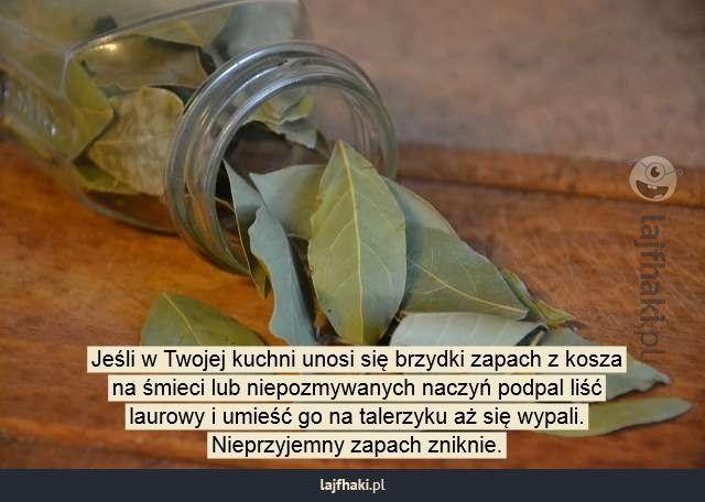 Brzydki zapach w kuchni - Jeśli w Twojej kuchni unosi się brzydki zapach z kosza na śmieci lub niepozmywanych naczyń podpal liść laurowy i umieść go na talerzyku aż się wypali. Nieprzyjemny zapach zniknie.