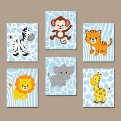 Baby Boy vivero pared arte, selva animales arte, cuadros lienzo o grabados Zoo animales, tema de selva, elefante mono juego de decoración 6